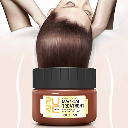 Magical Hair Treatment Mask, Advanced Molecular Keratin Hair Treatment Professtional Hair Conditioner, 5 Seconds to Restore Soft Hair, Deep Conditioner Suitable for Dry & Damaged Hair-60ml