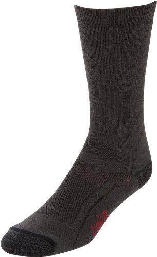 Teko Chaussettes de randonnée/Course à Pied en Laine de mérinos Biologique Noir Noir/Gris x-Large
