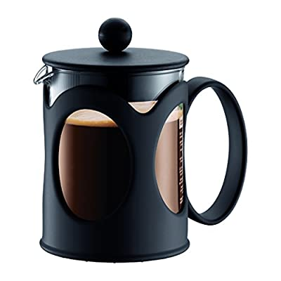 Bodum 10683-01 Kenya French Press Coffee Maker, Borosilicate Glass - 4-Cup (0.5 L), Black
