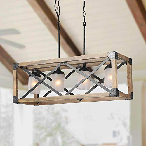LALUZ Wood Kitchen Island Farmhouse Pendant Lighting Hanging Fixture for Dining Room, 4 Glass Globes, A02989