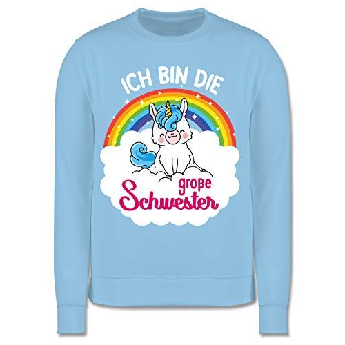 Shirtracer Geschwister Schwester - Ich Bin die große Schwester - mit Einhorn - 128 (7/8 Jahre) - Hellblau - Geschwister - JH030K - Kinder Pullover