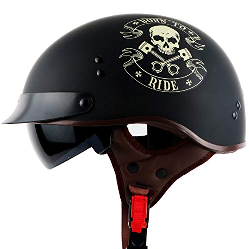Yu$iOne Motorradhalbhelme Mit Sonnenbrille, Leichter Anti-Schock-Helm, FüR Herren- Und Damenhelme,XXL