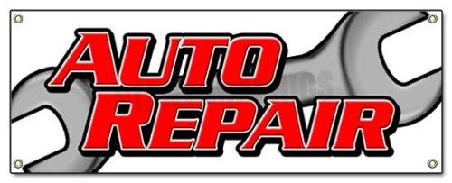 "AUTO REPAIR BANNER SIGN car shop mechanic tools signs, 18''x48"""