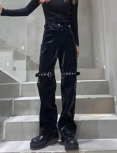 SPACELQ Rock Punk Patchwork Metal Cremallera Jogger Hip-Hop Harem Pista Negro Pantalones Coreano Harajuku Pantalón Pantalón Pantalón Interior Inferior