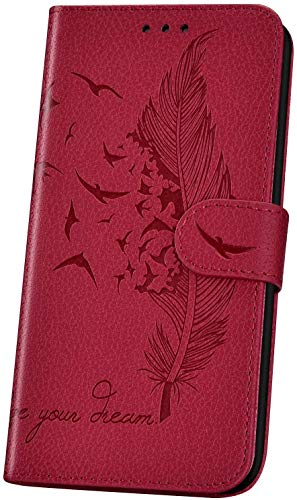 JAWSEU Handyhülle für LG K50 Hülle,Geprägt Feder Vogel Muster Schutzhülle Brieftasche PU Leder Tasche Handyhülle Lederhülle Flip Hülle Wallet Tasche Handytasche,Rot