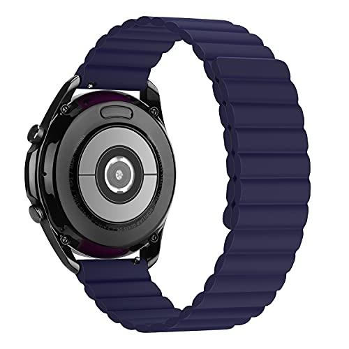 Tasikar 22mm Correas Compatible con Correa Samsung Galaxy Watch 3 45mm/Watch 46mm, Pulsera de Repuesto de Silicona con Cierre Magnético [Usable Doble Cara] para Huawei Watch GT2 46mm (Azul)