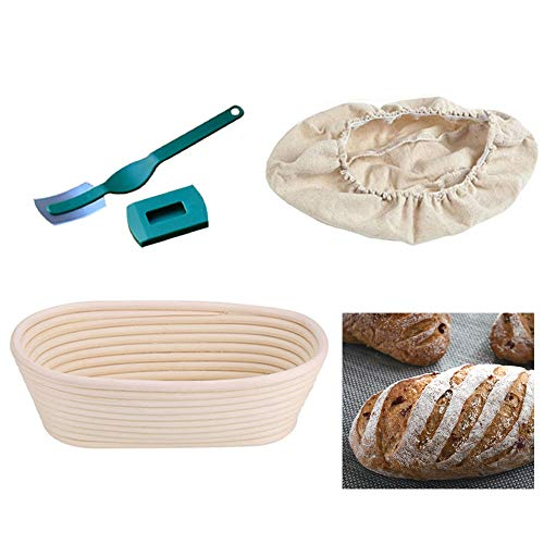 ABeauty 10' Oval Banneton Proofing Bread Basket Dough Proofing Bowl with Linen Liner Eco-Friendly Natural Rattan for Professional & Home Bakers