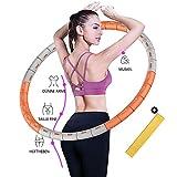 Hula Smart Hoop - Pneumatico fitness Exercise Hoop per la riduzione del peso regolabile, 6 segmenti, con anima in acciaio inox stabile per il fitness e l'addome