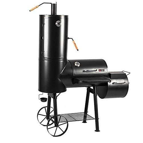 Mayer Barbecue RAUCHA Smoker MS-300 Pro Holzkohlegrill Räucherofen Smoker Grill, 2 Deckelthermometer, Massiv 49 kg, Schwarz, 139 x 184 x 73,5 cm (B x H x T)