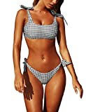 heekpek Costume da Bagno Donna Sexy Push up Bikini Plaid Bowknot Costumi da Bagno Due Pezzi Mare e Piscina