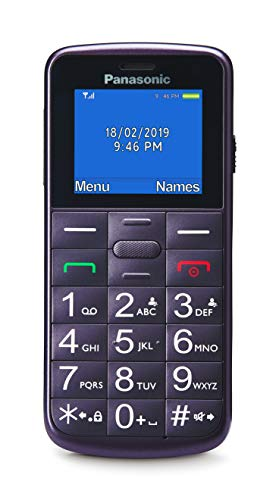 Panasonic KX-TU110EXV- Teléfono móvil para personas mayores (pantalla y teclas grandes, botón SOS, resistente a golpes, linterna, batería 22h), color violeta