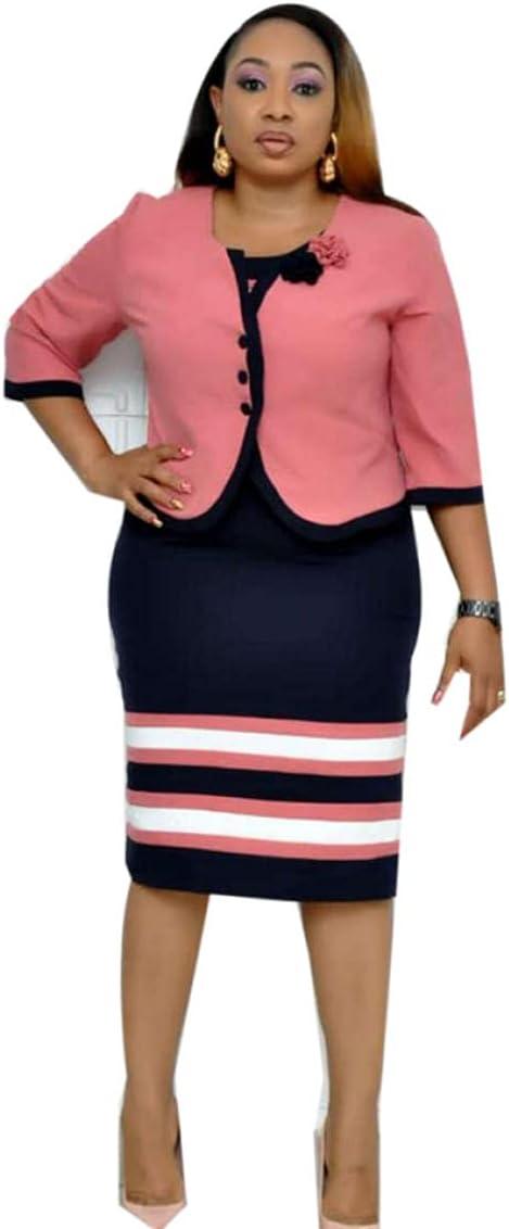 Plus Size Suit for Women Three Quarter Sleeve Round Neck Knitting Dress+Coat Office Work Lady Elegant Bodycon Set-Blue_48