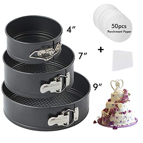 Turbo Bee Springform Pan Set, Nonstick Round Cake Pan 3pcs 4.7'7'9.4', Premium Detachable Bakeware Chseecake Pans with 50 PCS Parchment Paper Liners for Baker and Baking Enthusiast