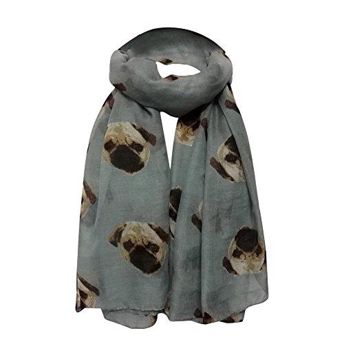 URIBAKY - Bufanda para mujer, diseño de cachorro largo gris Talla única