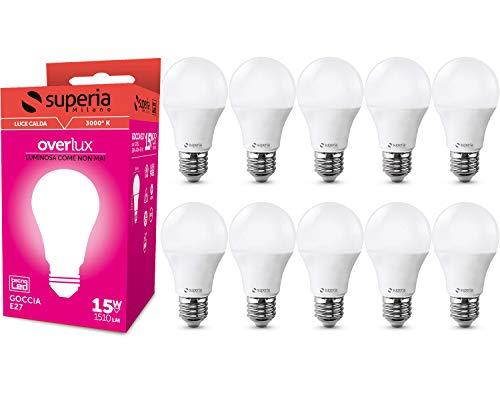 Superia Lampadina LED E27 Goccia, 15W (Equivalenti 85W), Luce Calda 3000K, 1500 lumen, OP15C, Pacco da 10