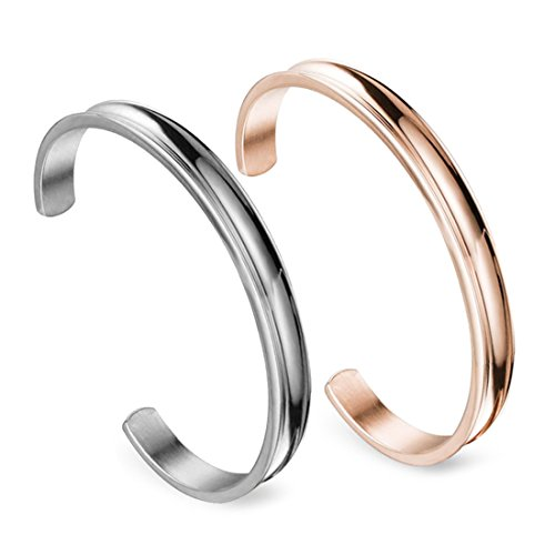 Zuo Bao Stainless Steel Bracelet Grooved Cuff Bangle for Women Girls (Silver+Rose Gold)