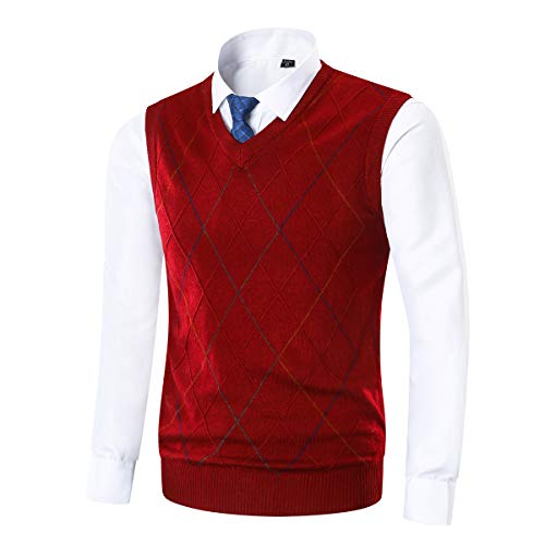 Yingqible Mens Invierno sin Mangas con Cuello en V Chaleco Prendas de Punto de Punto Chaleco suéter Caballero (Medium, 81_Rojo)