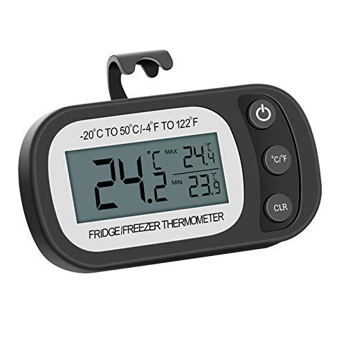 OurLeeme Thermomètre pour réfrigérateur, thermomètre pour congélateur avec Crochet -20 à 50 ℃ Écran LCD Facile à Lire Température de réfrigération étanche (Noir)