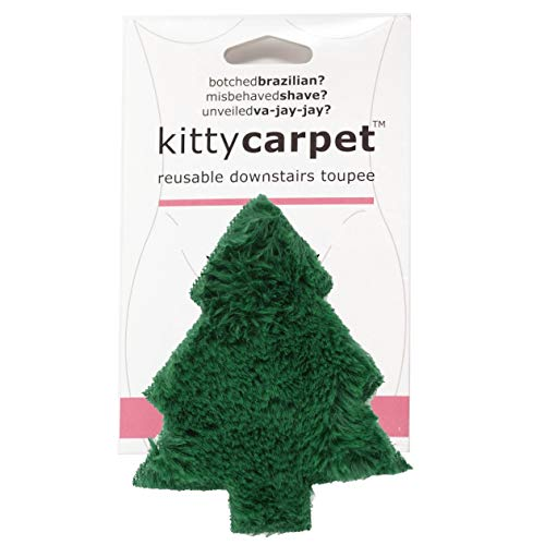 FUN delivery Kitty Carpet Reusable Downstairs Toupee Merkin Wig, Funny Gag Gift for Women (Christmas Tree Hugger Green)