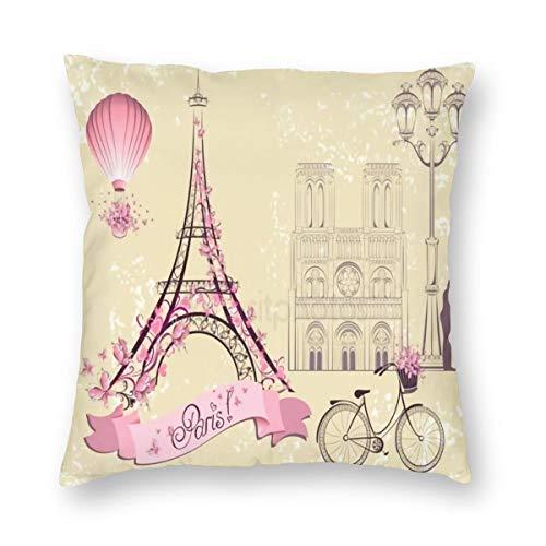Meius - Funda de cojín con diseño de la torre Eiffel y globo de aire caliente para bicicleta romántica pareja de terciopelo suave y decorativo cuadrado de almohada para sala de estar sofá dormitorio con cremallera invisible de 20 x 20 pulgadas