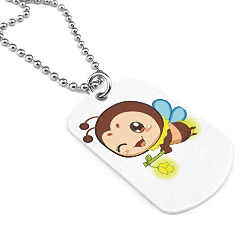 Lightning Bug Military Brand Necklace Dog Tag Stainless Steel Chain Pendant Keyring