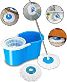 Vikas Mop Floor Cleaner with Spin Bucket Mop Set Offer for Best 360 Degree Easy Magic Cleaning, WITH 4 Microfiber (Blue Colour)