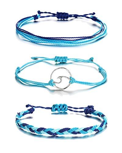 choice of all 3 Pcs Summer Surfer Wave Bracelet Adjustable Friendship Bracelet Handcrafted Jewelry Women (B:blue)