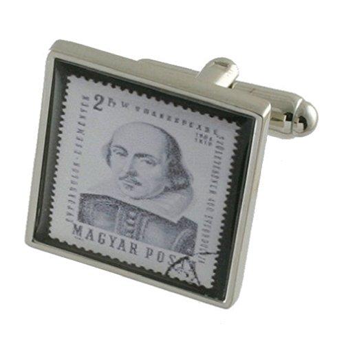 Shakespeare Tampon Design lourde solide Argent sterling 925 Boutons de manchette + cadeau personnalisé Message Boîte à boutons de manchette