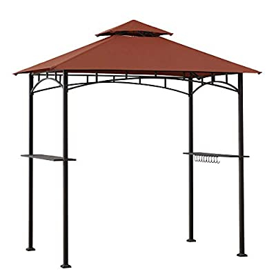 Sunjoy A103000105 Harvey 5x8 ft. Steel 2-Tier Grill Gazebo, Red