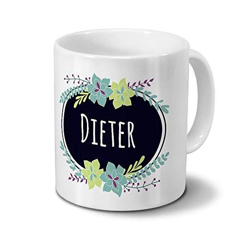 printplanet Tasse mit Namen Dieter - Motiv Flowers - Namenstasse, Kaffeebecher, Mug, Becher, Kaffeetasse - Farbe Weiß