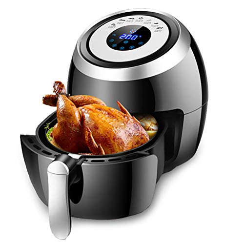 YANGSANJIN heteluchtfriteuse, friteuse, zonder olie, 5 liter, met digitaal touch-display, vetvrij, 1500 watt, gezond koken, eenvoudige reiniging, zwart