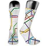 Compression Medium Calf Socks,Stripes In Colors Metro Scheme Subway Stations Abstract Railroad Transportation