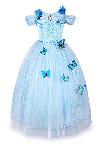 JerrisApparel Aschenputtel Kleid Prinzessin Kostüm Schmetterling Mädchen (130, Himmel Blau)
