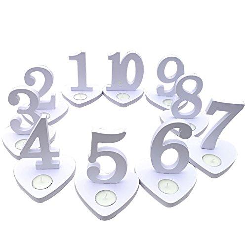BESTOYARD 10 stücke 1-10 Holztisch Zahlen mit Halter Basis für Hochzeit Geburtstag Party Tischdekoration (weiß)