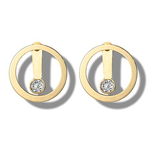 GUMEI Minimalist Gold Crystal Bead Circle Stud Pendientes Doble Cara Ear Jacket Jewelry