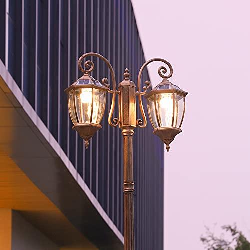 Accesorio iluminación para patio comunitario LED solar poste alto poste camino lámparas 2 luces impermeable paisaje luces calle iluminación mesa al aire libre, cerca, columna luz pedestal bolardo, luz