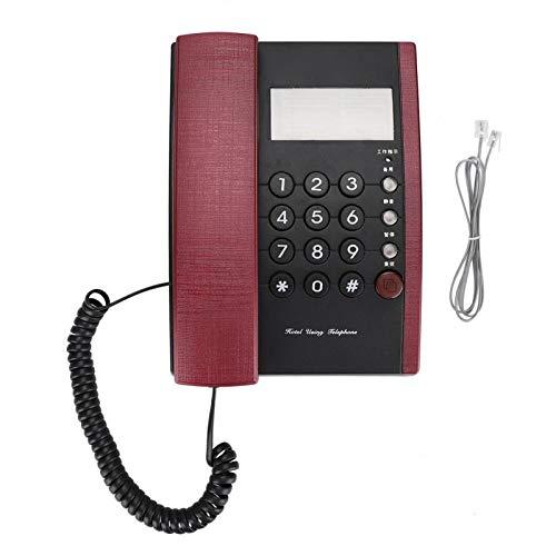 Hotel Uso en el Hogar Teléfono fijo Teléfono fijo Teléfono de Escritorio Sin Pantalla Botón Grande para Club, Escuela(rojo)
