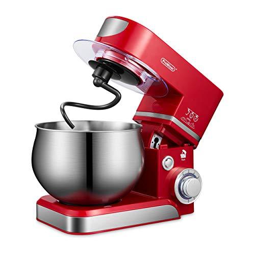 ProMixer, M5A, Stand Mixer, amasadora planetaria, robot de cocina, amasadora, batidora, batidora, batidora, 5 l, 1000 W, 6 velocidades, inoxidable, cuenco, crema, huevo, tarta (rojo)
