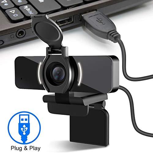 LarmTek 1080P Webcam mit Mikrofon-und Datenschutzabdeckung,Webkamera-USB-Kamera,Computer-HD-Streaming-Webcam für PC Desktop & Laptop mit Mikrofon,W4,DE