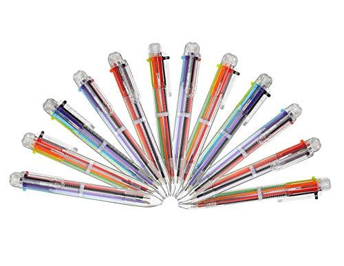 Multicolor Kugelschreiber,12 Packung 6-in-1 Versenkbare Kugelschreiber 6 Farben Mehrfarbig Stifte für Büro Schulbedarf Studenten Kinder Geschenk