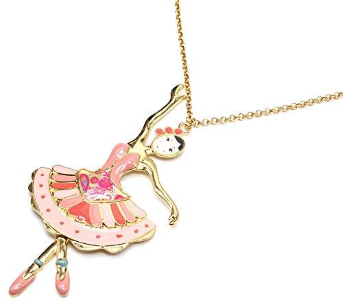 Oh My Shop SP824E Halskette mit Anhänger, Tänzerin, Bustier-Kleid, Emaille, Rosa und vergoldetes Metall