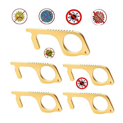 Türöffner Hand berührungslos,Hygiene Hand Messing Reinigen Schlüssel,Hände sauber halten Hand Schlüsselbund Werkzeug Täglich Carry-Multitool Zubehör,5Stück