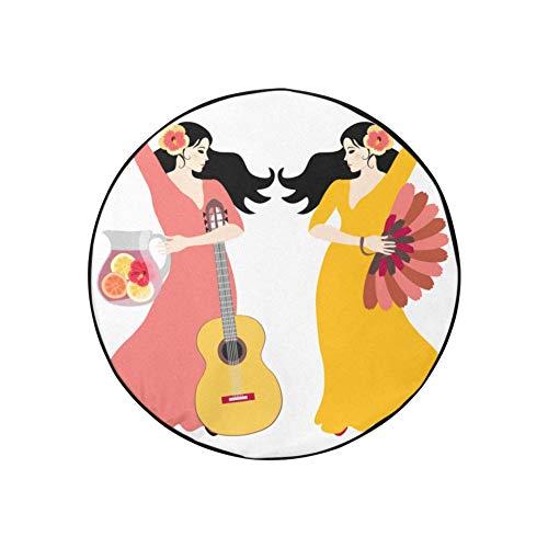 Fundas para ruedas de autocaravana Hermosas mujeres españolas con una guitarra Fundas tradicionales para neumáticos para remolques Fundas para neumáticos portátiles de moda a prueba de polvo aptas pa