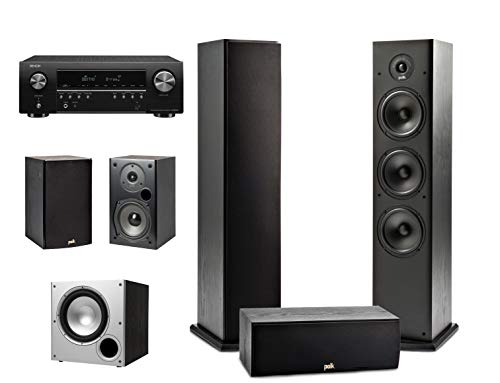 Polk Audio 5.1 Channel Home Theater System with Powered Subwoofer & Denon AVR-S650H Receiver | Two...