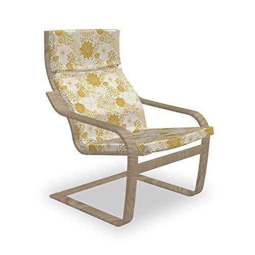 ABAKUHAUS Blumen Poäng Sessel Polster, Hand gezeichnete Punkte, Sitzkissen mit Stuhlkissen mit Hakenschlaufe und Reißverschluss, Gelb und Weiß