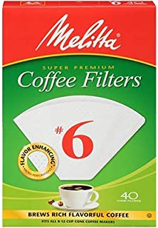 Melitta Cone Coffee Filters White No. 6 40 Count, Pack of 6