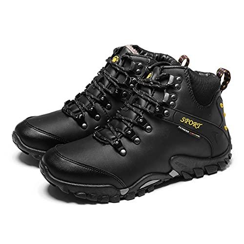 Botas De Nieve Hombre Invierno Botines Zapatos Antideslizantes Calentar Forradas Impermeables Zapatillas De Senderismo Zapatos Trekking,Negro,41 EU