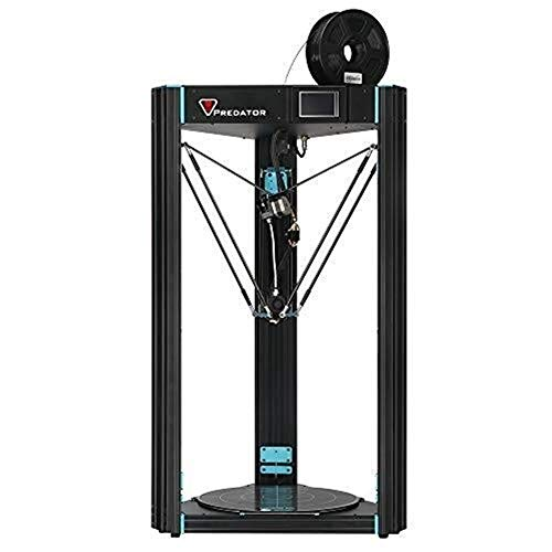 Predator Delta Kossel 3D Printer Pre-assembled with Ultrabase hotbed and Assisted Leveling Large Print Size 370×370×455mm UK Plug + Free 1kg Filament, Works with PLA, TPU, ABS, HIPS, Wood
