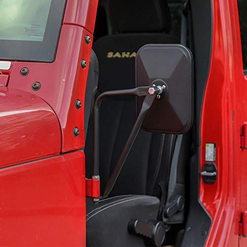 JeCar Side Mirrors Square Doorless Rear View Quick Release Mirrors for Jeep Wrangler CJ YJ TJ JK JL & Unlimited, Textured Black