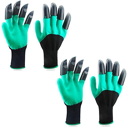 2 Paar Gartenhandschuhe, beide Hand Krallen Gartenhandschuhe, schnell und einfach zu Graben und Pflanzen, Safe für Rose Beschneiden für Frauen und Männer Handschuhe